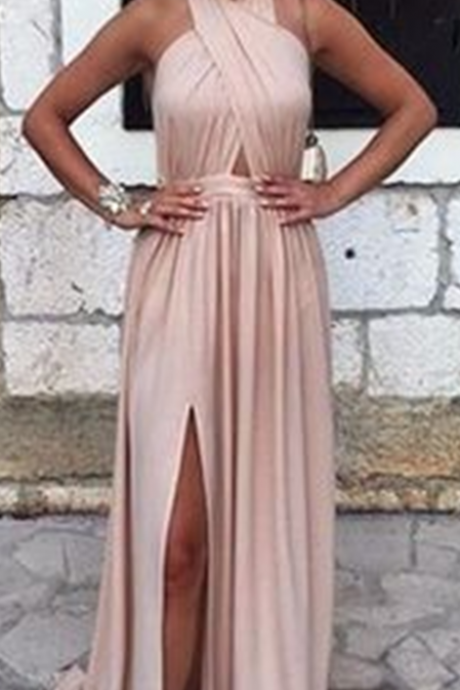 New Arrival Prom Dress,Simple A-line backless long prom dress,evening dresses