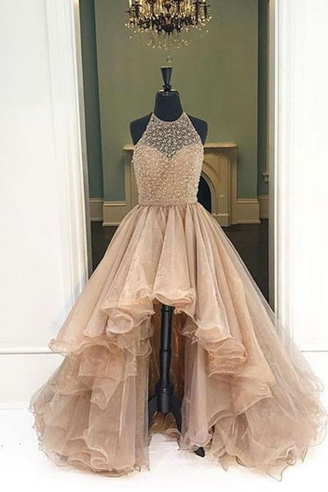 Champagne Organza Halter High Low A-line Long Dress,High Quality Prom Dress,Modest Prom Dress,Prom Gowns,Party Dress,formal dresses for teens ,Beading Prom Dress
