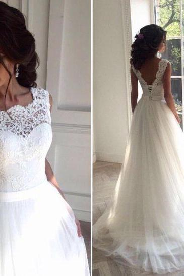 Wedding Dress,Delicate Lace V-back Wedding Gown, Bridal Dress, Formal Wedding Dress,Custom Made Wedding Dress,Wedding Gonws 2017,Tulle and Lace Wedding Dress