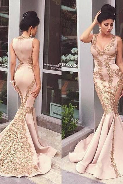 Gorgeous Prom Dress,Prom Dress, Mermaid Prom Dress, Applique Prom Dress, Evening Gown, Sleeveles Prom Dress, Zipper Prom Dress, Sexy Prom Dress