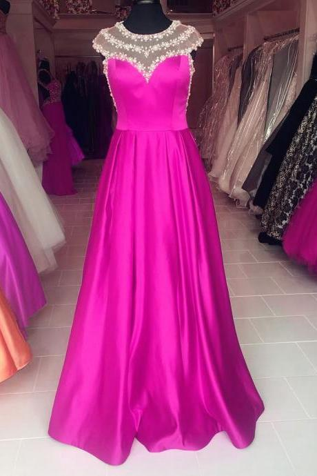 Pearl Beaded Cap Sleeves Long Satin Purple Prom Dresses 2017