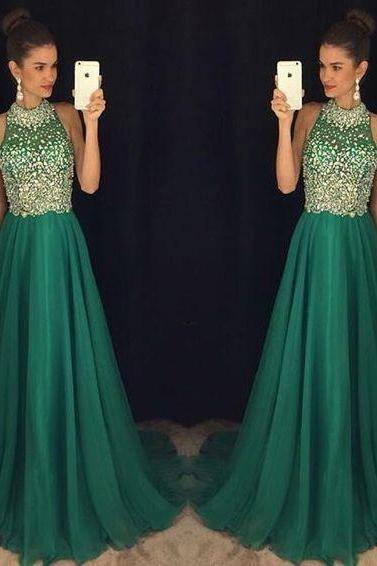 Green Prom Dresses,Chiffon Evening Gowns,Modest Formal Dresses,Beaded Prom Dresses,New Fashion Evening Gown,Cheap Evening Dress,Beading Evening Gowns