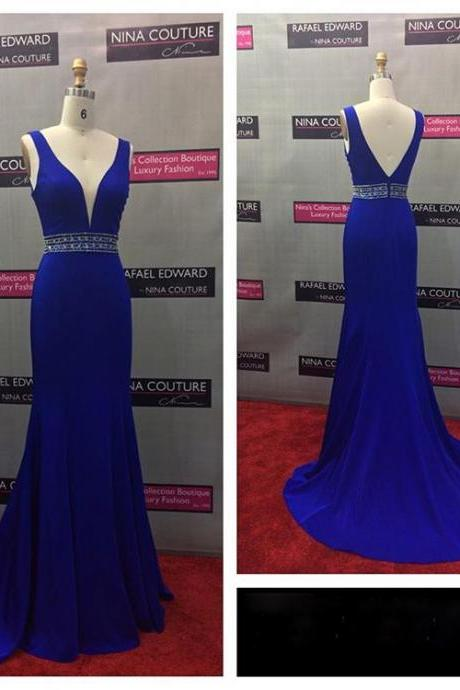 Royal Blue Pluging V Neck Prom Dreess,Fitted Open Back Formal Gown, Evening Dress
