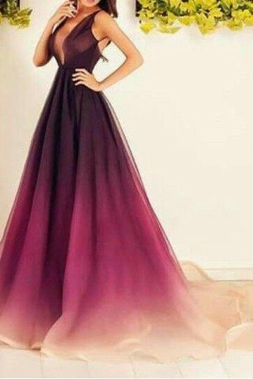 Charming Prom Dress,Sexy Burgundy Prom Dress Evening Ombre Wine Red Party Dress