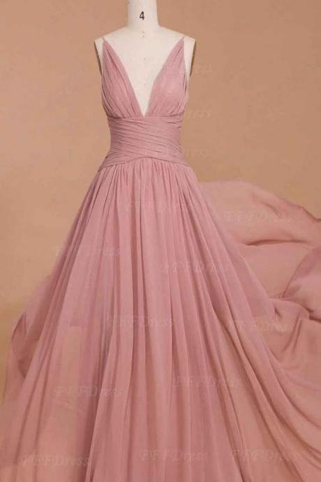 Spaghetti straps prom dress dusty pink bridesmaid dresses, long prom dresses, deep-V prom dresses