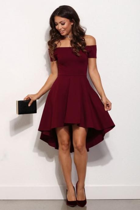High-low homecoming dresses, Maroon homecoming dresses off-shoulder prom dresses,Satin prom dresses,granduatin dresses, short prom dresses