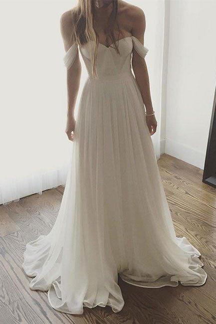 Ivory Chiffon Long Prom Dress, Off The Shoulder Formal Gown With Draped Bodice