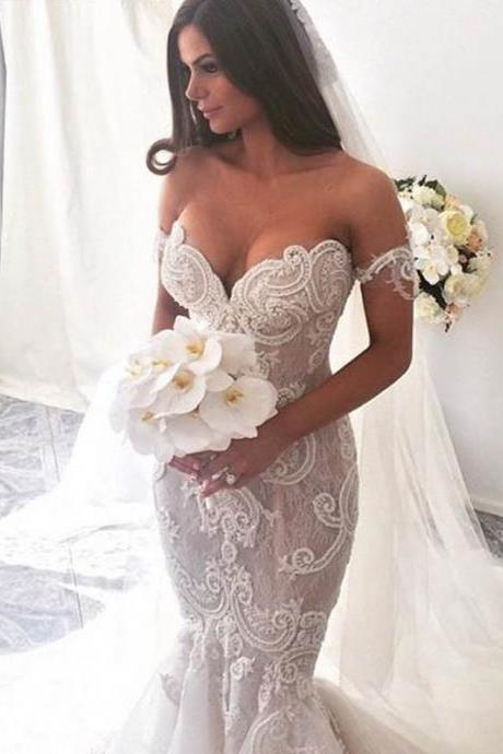 Vestido De Noiva Pearl Beaded Lace Mermaid Wedding Dresses 2017 Off The Shoulder See Through Bride Gowns Vintage Robe De Mariage