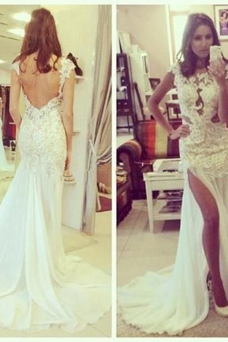 Sexy White Lace Mermaid Prom Dresses 2017 Slit Backless Long Train Evening Dress Beach Spaghetti Strap Party Dress