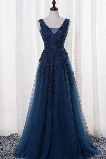 Elegant Tulle Prom Dress, Lace Prom Dress, Navy Blue Long Prom Dress with Open Back, Formal Dresses, Woman Evening Dress