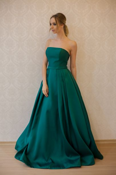 Green Prom Dress, Elegant Emerald Satin Prom Dresses, Ball Gown, Simple Prom Dress, Sweetheart Dress for Prom 2017