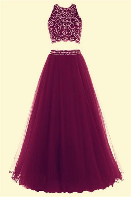 Charming Prom Dress,Tulle Prom Dress,Two Pieces Prom Dress,Beading Evening Dress