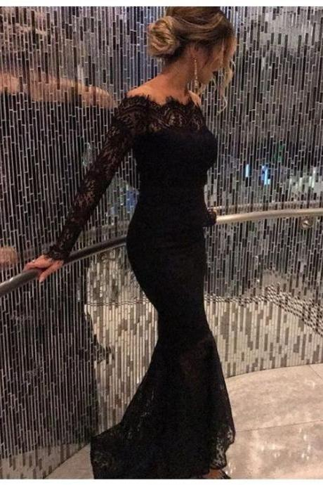 Black Prom Dresses,Prom Dress,Beaded Black Lace Off The Shoulder Backless Mermaid Formal Gown With Long Sleeve