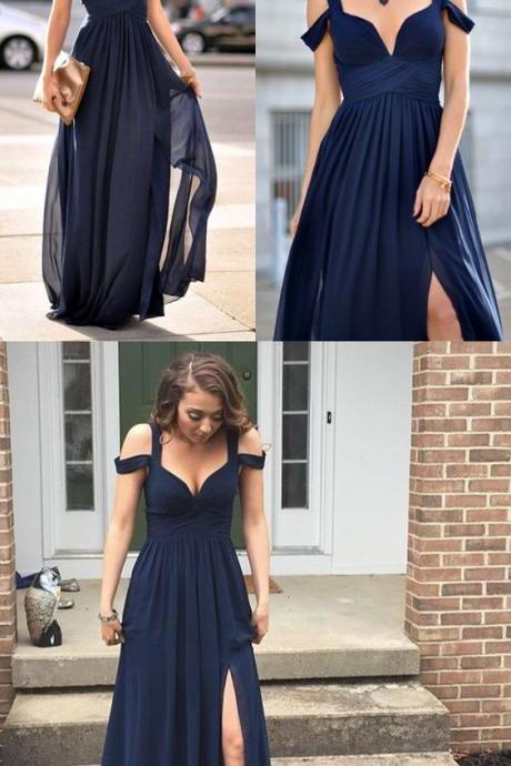 Navy Blue Bridesmaid Gown,Chiffon Prom Dress,Straps Prom Gown,Simple Bridesmaid Dress,Cheap Evening Dresses,Dark Navy Bridesmaid Dresses,Slit Bridesmaid Gown For Weddings