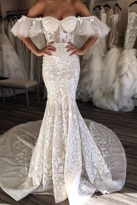 Vestido De Noiva Lace Mermaid Wedding Dresses 2017 Off The Shoulder See Through Bride Gowns Vintage Robe De Mariage