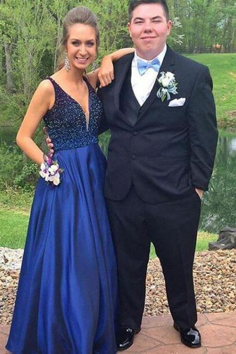 Designer Prom Dress,Halter Prom Dresses ,Beaded Evening Gowns,Navy Blue Satin Party Gowns,Sexy Evening Dress,Modest Party Dresses