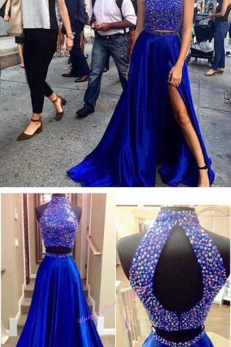 Royal Blue Prom Dresses,2 Piece Prom Gown,Two Piece Prom Dresses,Satin Prom Dresses,New Style Prom Gown,Prom Dress,Slit Prom Gowns