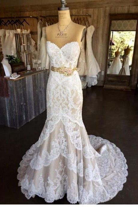 White Wedding Dresses,Mermaid Wedding Gown,Lace Wedding Gowns,Lace Bridal Dress,Sexy Brides Dress,Vintage Wedding Gowns