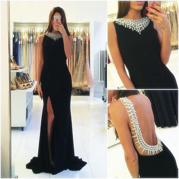 Beaded Black Sexy Sheath Evening Dress Cheap Sleeveless Popular Backless Side Slit Prom Dress