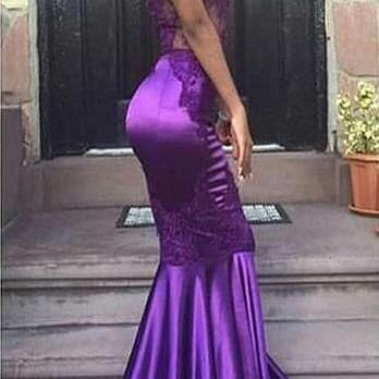 Sexy Halter Mermaid Purple Evening Gown Appliques Lace Open Back Sleeveless Prom Dress
