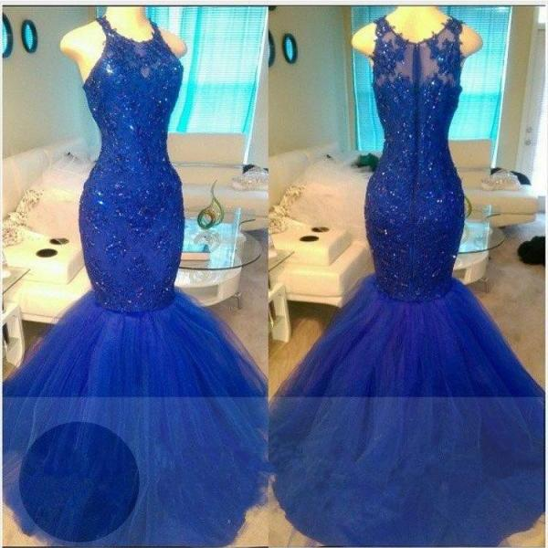 Appliques Mermaid Elegant Royal-Blue Sleeveless Beadings Tulle Evening Dresses