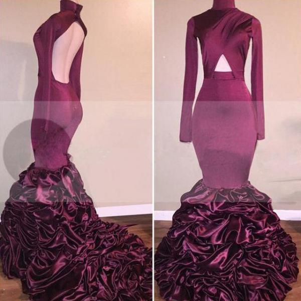 High Neck Ruffles Long Sleeves Open-Back Mermaid Newest Burgundy Prom Dress
