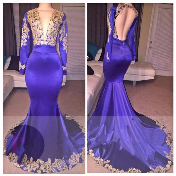 Appliques Sexy Deep V-Neck Long-Sleeves Appliques Prom Dress