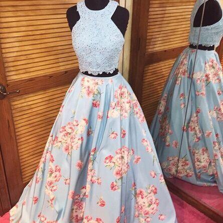 Applique Floral Printed Beaed Two Piece Prom Dress Flowers A Line Full Length Sexy Pageant Evening Gown