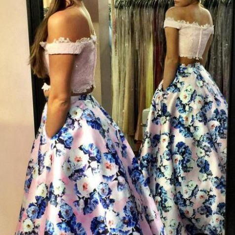 prom dresses,Fashion Two Piece Pink Prom Dress - Off the Shoulder with Lace Beading Floral