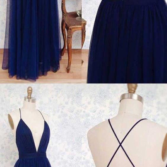 Royal Blue Prom Dresses Long, Backless Party Dresses A-line, V-neck Formal Dresses 2018