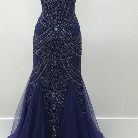 Tulle Evening Dresses Beading Beaded Navy Prom Dress with Keyhole Back