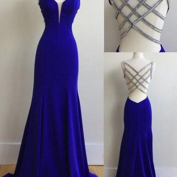 Sexy Prom Dress,Royal Blue Prom Dress,Backless Long Prom Dress,Evening Dress