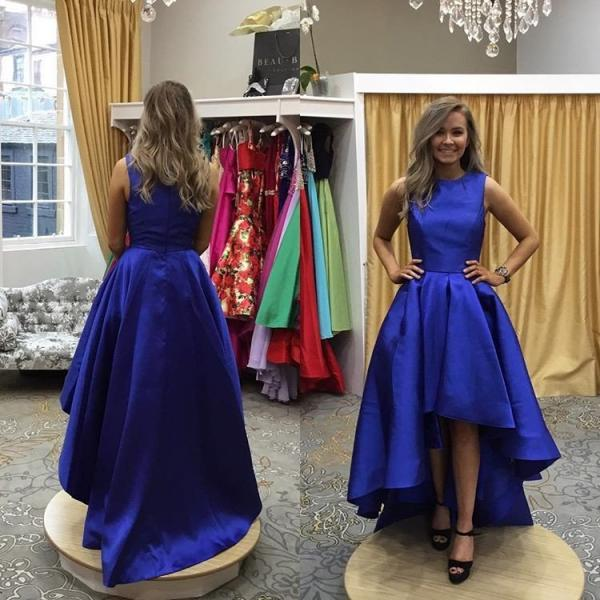 Gorgeous High Low Royal Blue Long Homecoming Dress Evening Dress