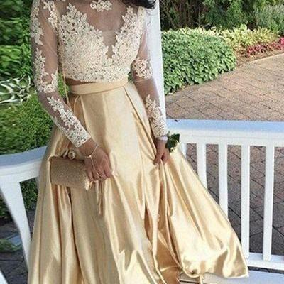 Prom Dresses,Long Sleeves Prom Dress,Two Piece Long Prom Dress,Champagne Satin Long Prom Dress, Lace Top Prom Dress,A-line Formal Dress,Prom Dresses with Long Sleeves