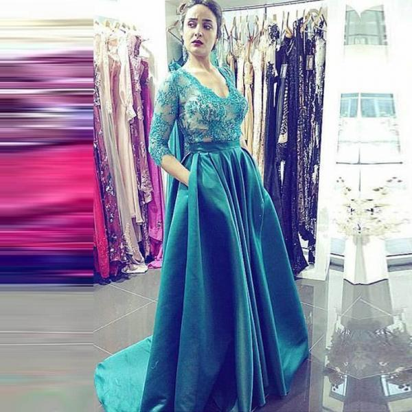 Prom Dresses,Long Prom Dresses,Sexy Appliques Prom Dresses,Long Evening Dress,Formal Dress for Women,3/4 Sleeves Graduation Dresses
