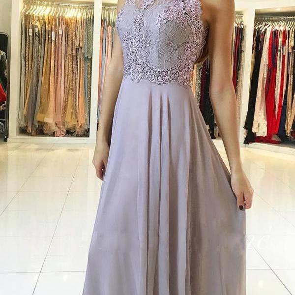 Open Back Chiffon Appliques Prom Dresses Long A-line Sexy Party Dresses for Teens Girls Evening Dresses Formal Gowns for Women