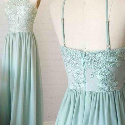Mint Chiffon Appliques Prom Dresses Long A-line Sexy Party Dresses Backless Evening Dresses Halter Formal Gowns