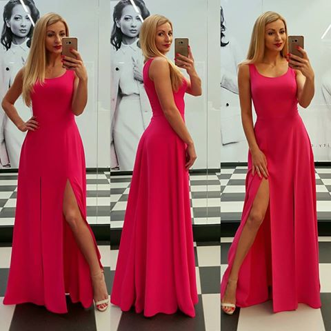Hot Pink Chiffon Two Side Slit Prom Dresses Long A-line Sexy Party Dresses Backless Evening Dresses Formal Gowns