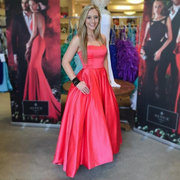 Red Satin Prom Dresses Long A-line Sexy Party Dresses Strapless Evening Dresses Formal Gowns with Pocket