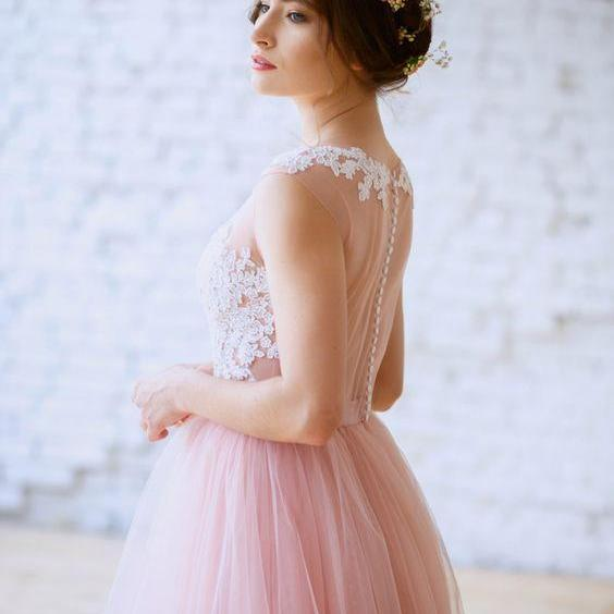 Long prom dress, pink prom dress, tulle prom dress, lace top prom dress, formal prom dress, charming prom dress