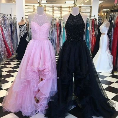 Long prom dress, halter prom dress, beaded prom dress, cheap prom dress, high low prom dress, pink prom dress, evening dress