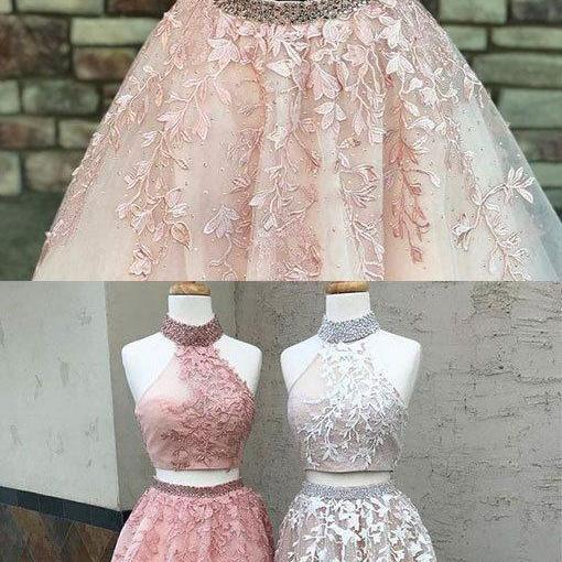 unique two pieces lace long prom dress, lace evening dress P0757