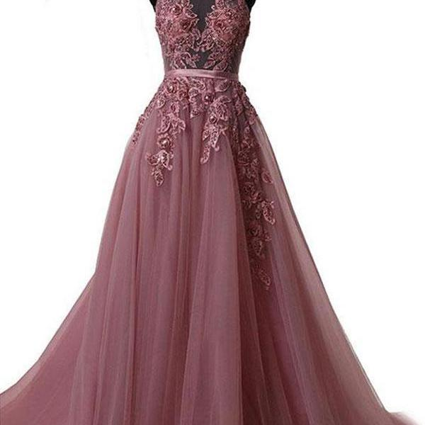 2018 Long Prom Dress Halter Brush Train Simple Lace Prom Dress/Evening Dress P0758