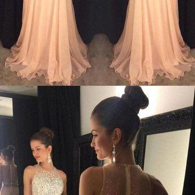 Charming Chiffon Prom Dress, Beaded Crystal Prom Dresses, Sexy Long Homecoming Dress, Evening Formal Dress P1163