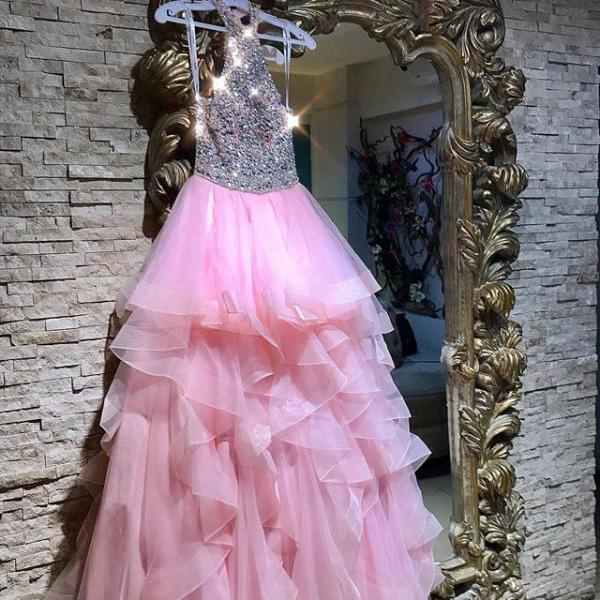 Sexy Sleeveless Prom Dress, Crystal Beaded Pink Ruffles Tulle Prom Dresses, Pretty Long Evening Dress P1167