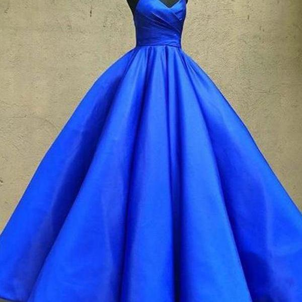Royal Blue Prom Dress, Sexy Spaghetti Straps Formal Ball Gowns, 2018 Long Evening Dress P1453