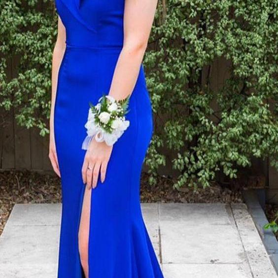 elegant off the shoulder royal blue mermaid long evening dress with side slit, formal evening dress party dress P3202