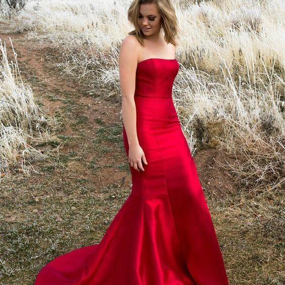 elegant strapless mermaid red long prom dress with train, formal evening dress party dress wedding party dress P3203