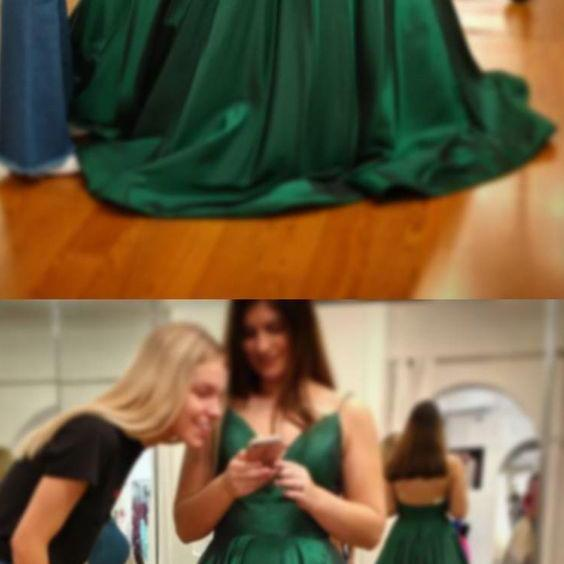 Gorgeous Straps V Neck Green Long Prom Dress P3204