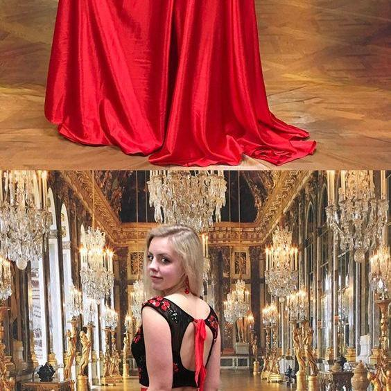 two piece long prom dress, black and red long prom dress, 2018 prom dress, prom dress with open back P3205